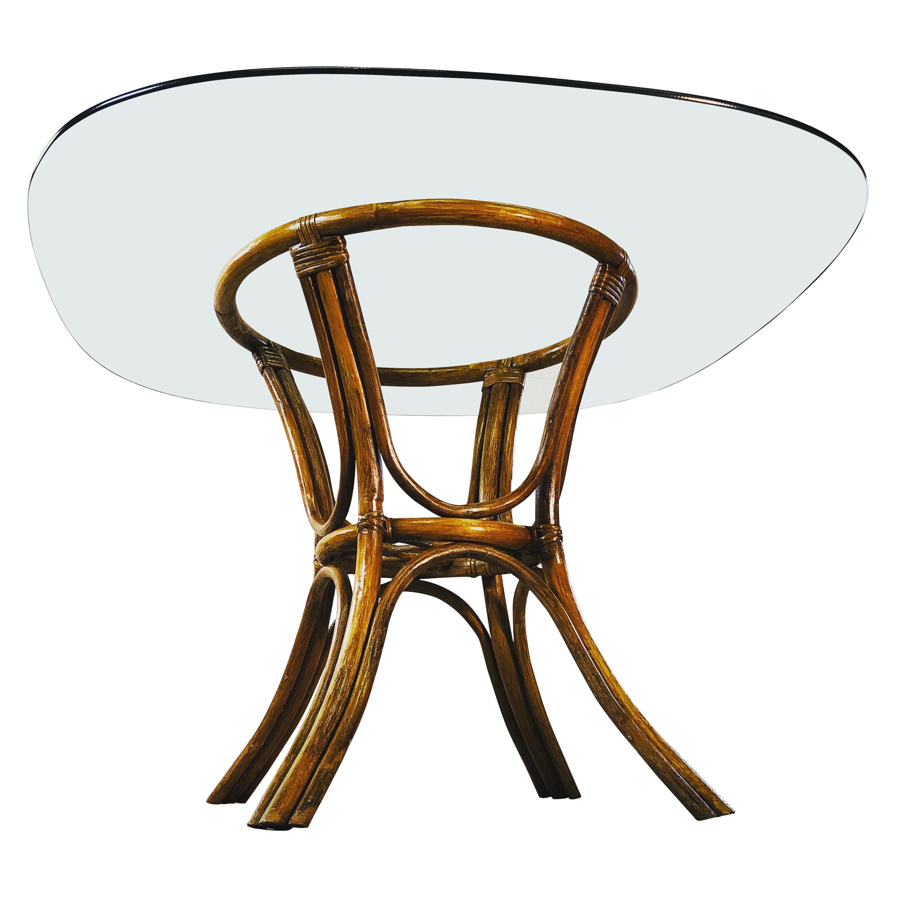 Vintage 1960s Rattan & Glass Top Dining Table