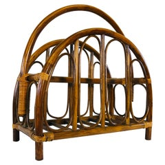 Vintage 1960s Rattan Magazine Rack with Arches