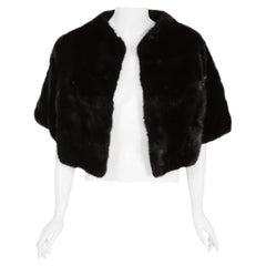Vintage 1960's Revillon Paris Couture Black Diamond Mink Fur Bolero Jacket
