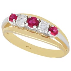 Vintage 1960s Ruby and Diamond Yellow Gold Ring