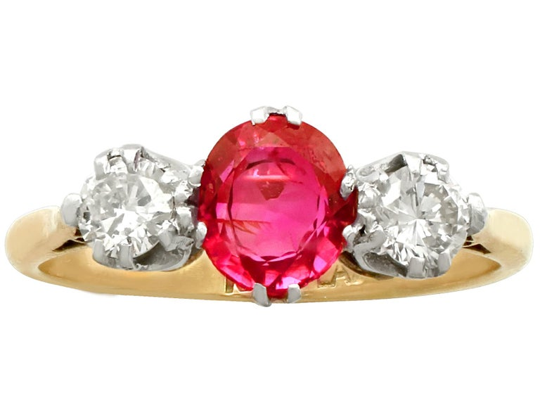 Oval Cut Vintage 1960s Ruby Diamond and Yellow Gold Three-Stone Ring For Sale