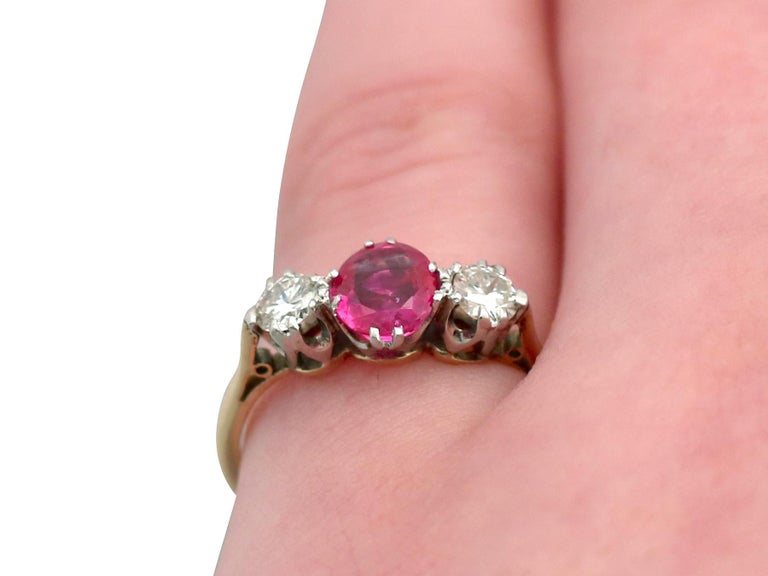 Vintage 1960s Ruby Diamond and Yellow Gold Three-Stone Ring For Sale 3