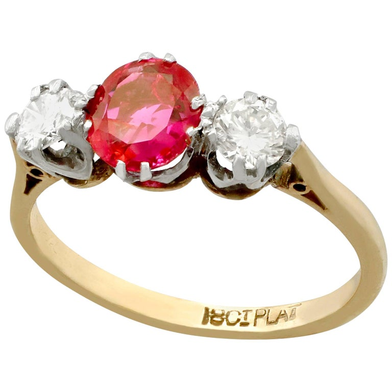 Vintage 1960s Ruby Diamond and Yellow Gold Three-Stone Ring For Sale
