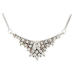Vintage 1960s Russian 1.02 Carat Diamond White Gold Necklace
