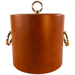 Vintage 1960s Rust Vinyl and Gold Metal Ice Bucket