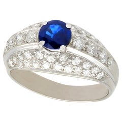 Vintage 1960s Sapphire and Diamond White Gold Cocktail Ring