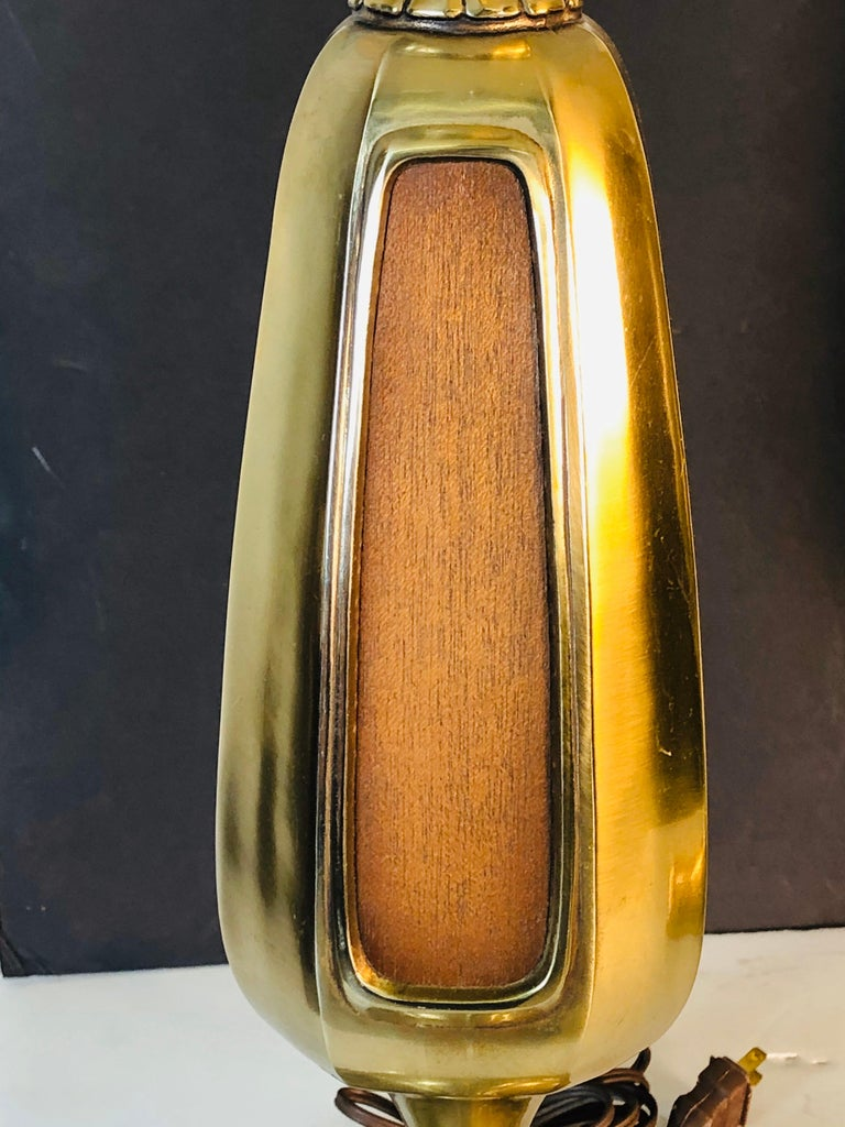 Mid-Century Modern Vintage 1960s Sculptural Brass and Wood Laurel Lamps, Pair For Sale