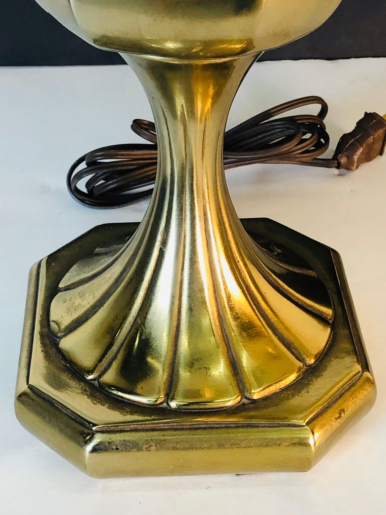 American Vintage 1960s Sculptural Brass and Wood Laurel Lamps, Pair For Sale