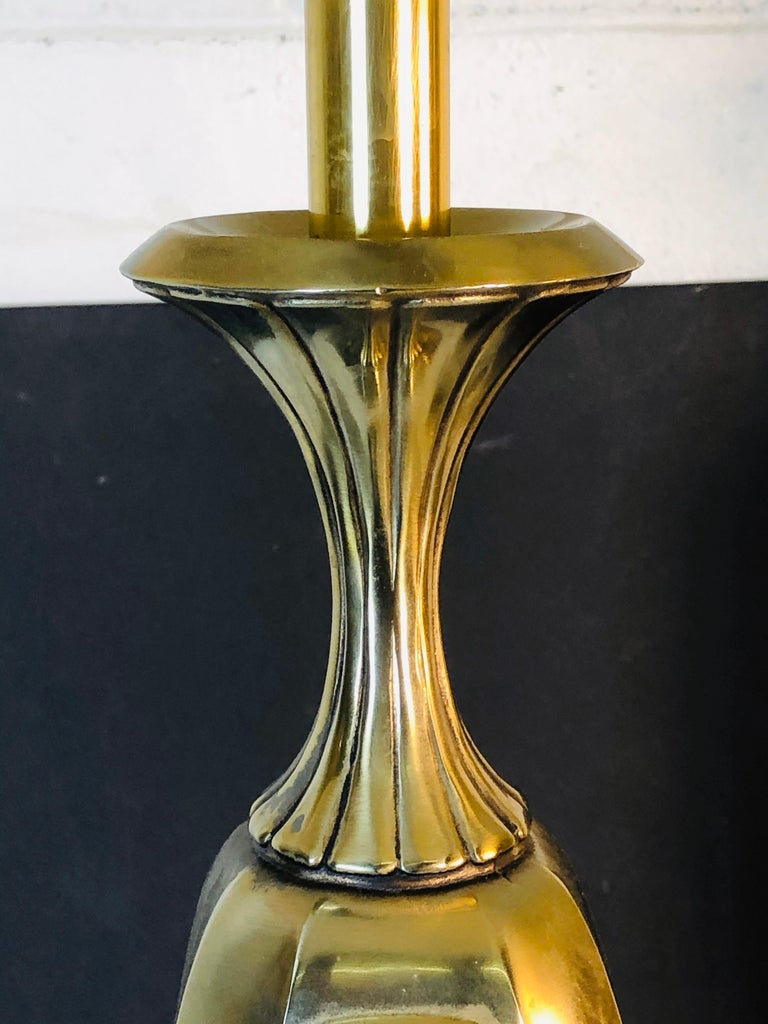 Vintage 1960s Sculptural Brass and Wood Laurel Lamps, Pair In Good Condition For Sale In Amherst, NH