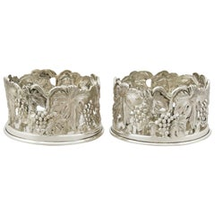 Vintage 1960s Set of 2 Continental Silver Bottle Coasters