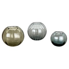 Vintage 1960s Set of 3 Ball Vases Turmaline by Wilhelm Wagenfeld for WMF Germany