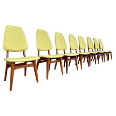 Vintage 1960s Set of Eight Norwegian Teak and Chartreuse Dining Chairs