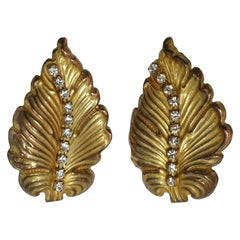 Vintage 1960s Signed Miriam Haskell Crystal Leaf Earrings