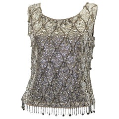 Vintage 1960s  Silver Sequinned Evening Top