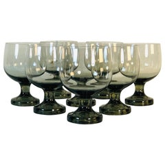 Vintage 1960s Smoked Glass Goblets, Set of 8