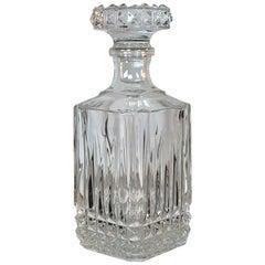 Vintage 1960s Square Glass Diamond Point Decanter