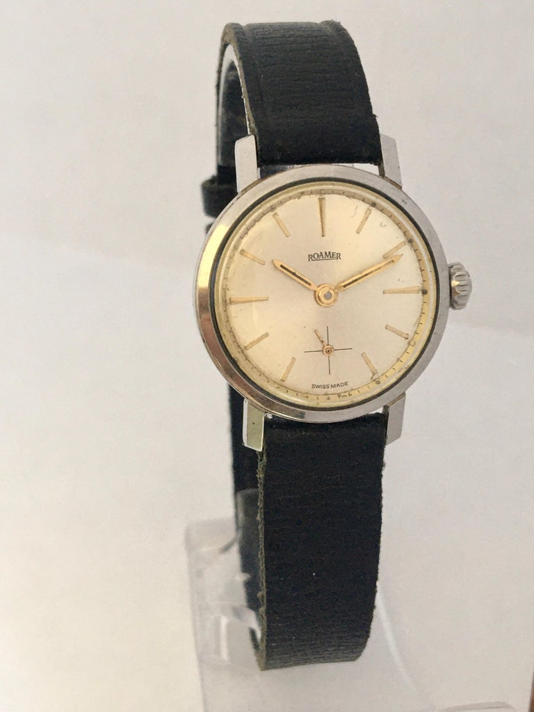 Vintage 1960s Stainless Steel Roamer Mechanical Ladies Watch For Sale 7