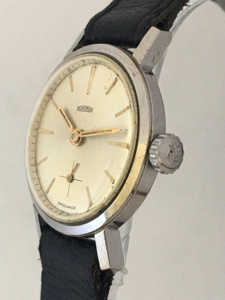 Vintage 1960s Stainless Steel Roamer Mechanical Ladies Watch For Sale 1