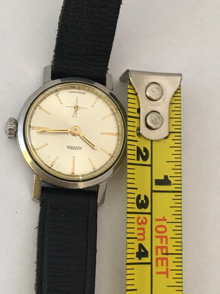 Vintage 1960s Stainless Steel Roamer Mechanical Ladies Watch For Sale 3