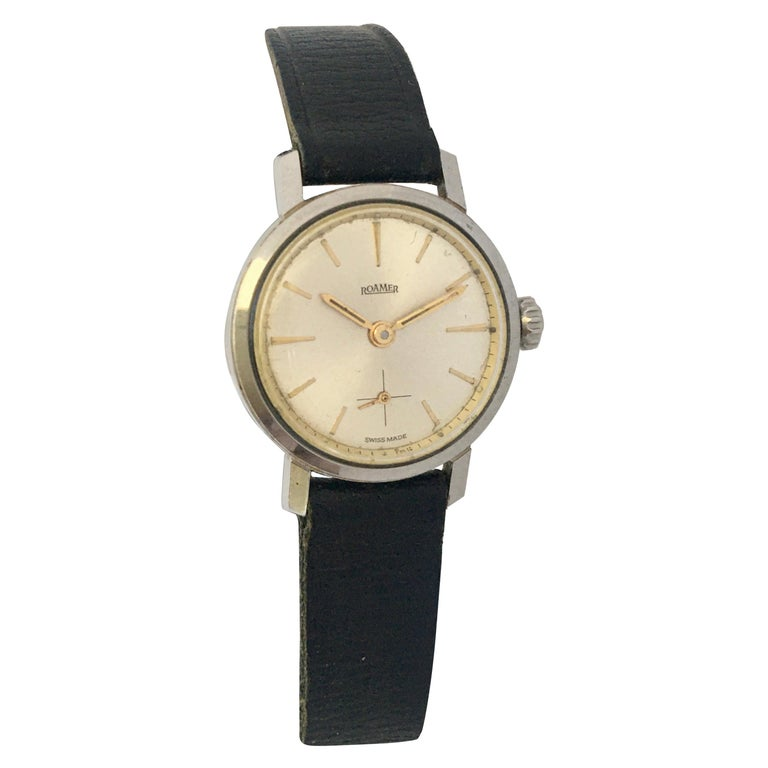 Vintage 1960s Stainless Steel Roamer Mechanical Ladies Watch For Sale