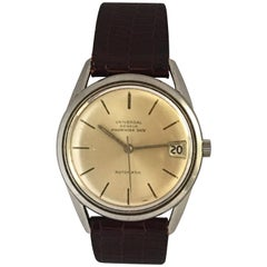 Vintage 1960s Stainless Steel Universal Geneve Polerouter Date Automatic Watch