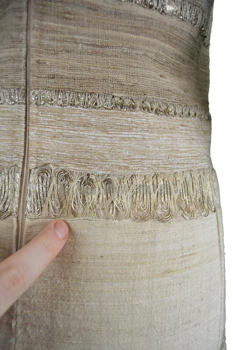 Vintage 1960s Textured Linen And Metallic Cocktail Party