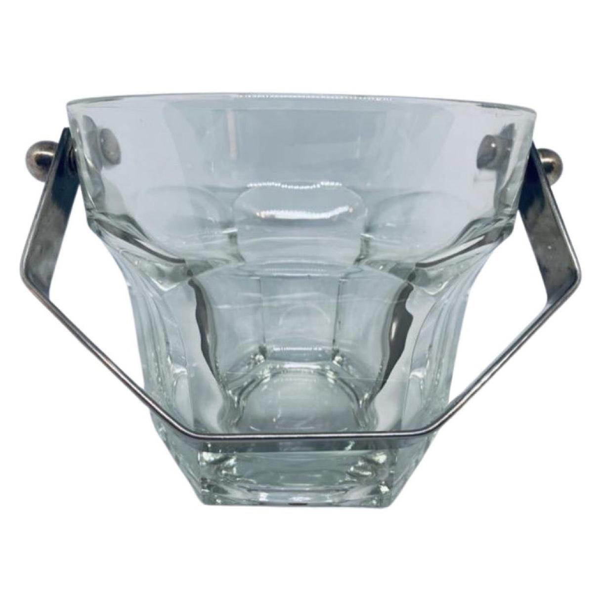 Vintage 1960s Thick Clear Glass Ice Bucket with a Silver Plate Handle