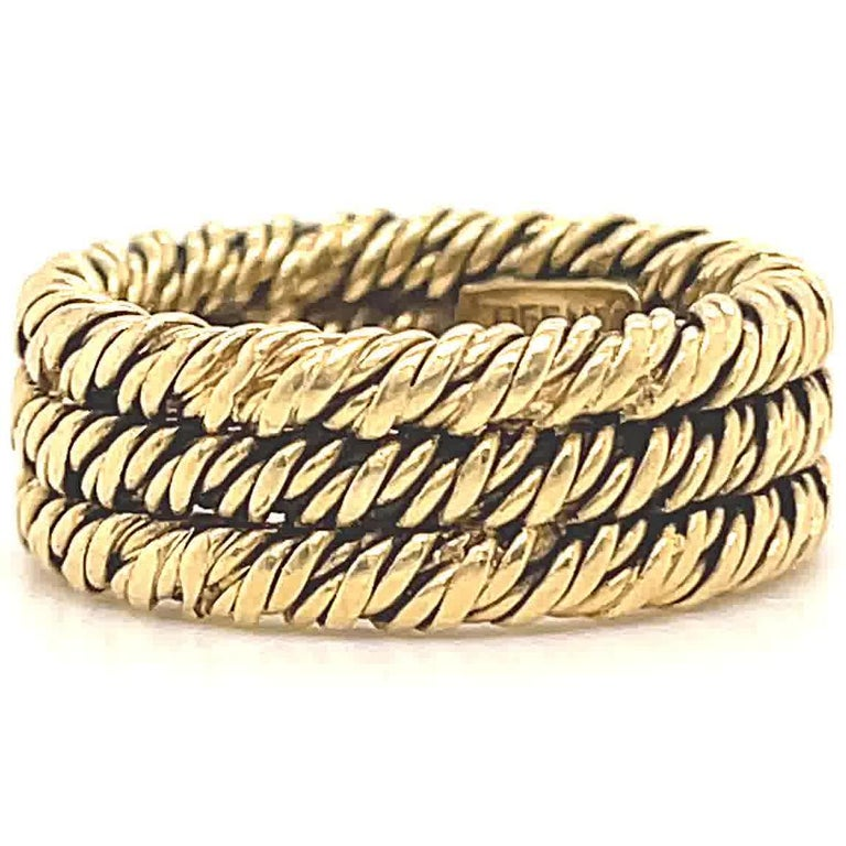 Women's Vintage 1960's Tiffany & Co. 18 Karat Gold Woven Band For Sale