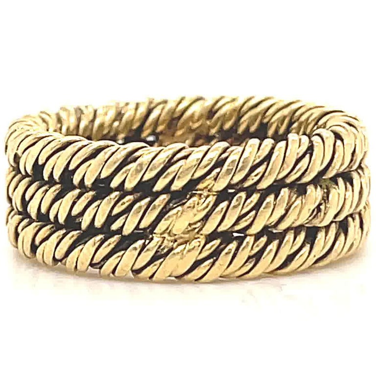 Vintage 1960's Tiffany & Co. 18 Karat Gold Woven Band For Sale 1