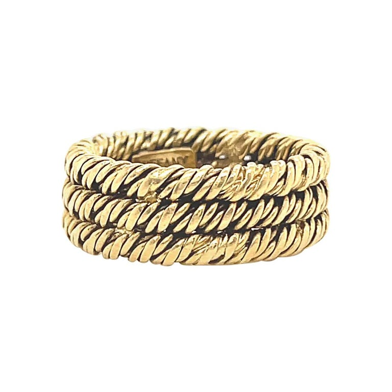 Vintage 1960's Tiffany & Co. 18 Karat Gold Woven Band For Sale