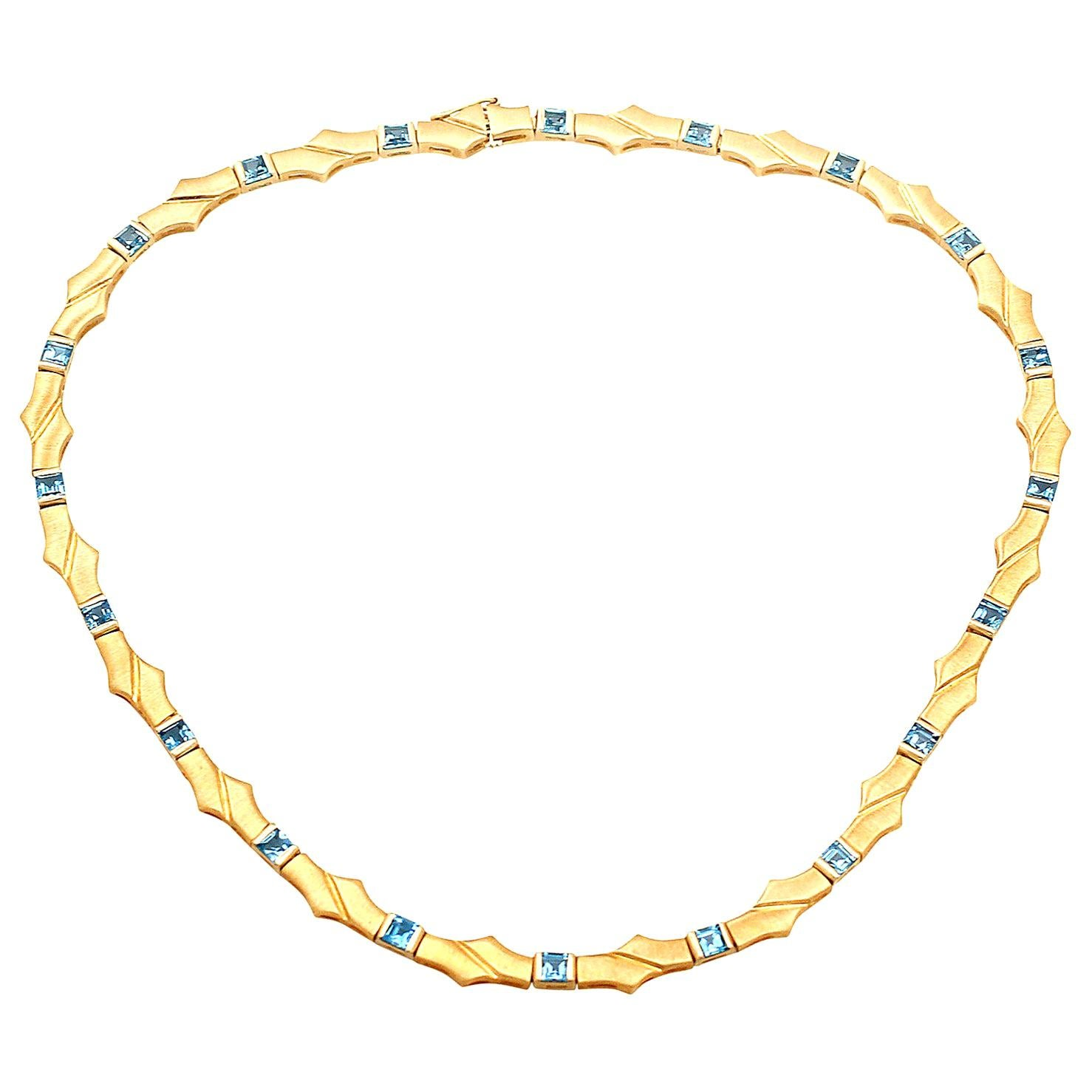 Vintage 1960s Topaz and Yellow Gold Necklace