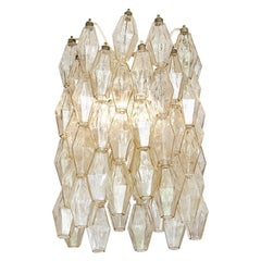 Vintage 1960s Venini Polyhedral Chandelier in Champagne Colored Blown Glass