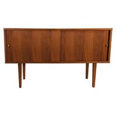 Vintage 1960s Walnut Storage Cabinet with Slide Front Doors
