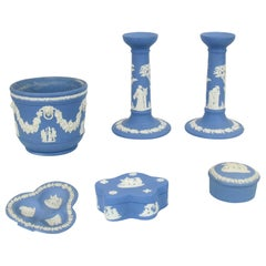 Vintage 1960s Wedgwood Jasperware Cream on Blue Collection