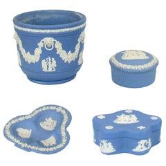Vintage 1960s Wedgwood Jasperware Cream on Blue Collection
