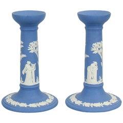 Vintage 1960s Wedgwood Jasperware Cream on Blue Pair of Candleholders