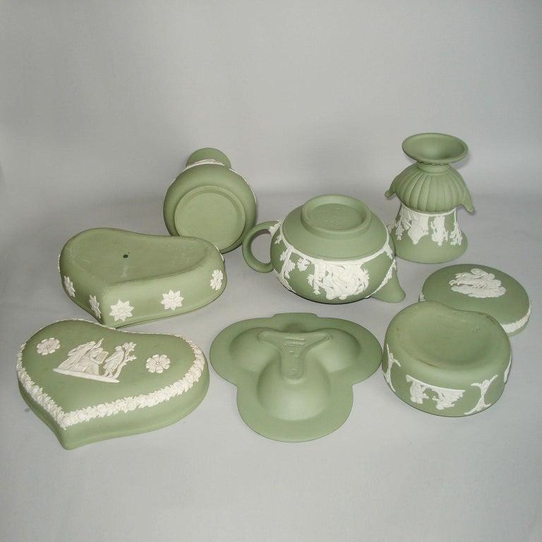 Vintage 1960s Wedgwood Jasperware Cream on Celadon Collection 3