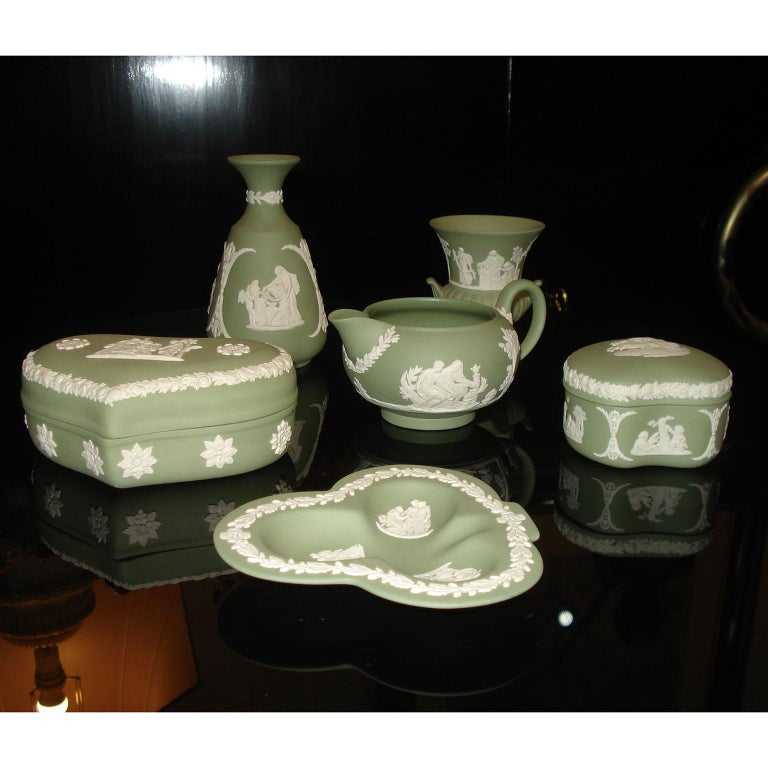 Mid-Century Modern Vintage 1960s Wedgwood Jasperware Cream on Celadon Collection