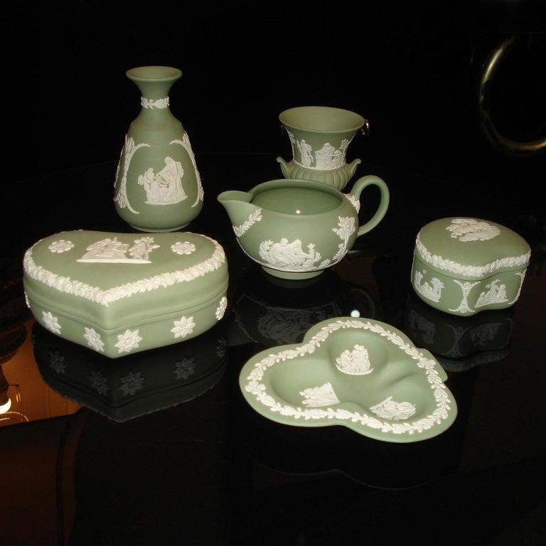 British Vintage 1960s Wedgwood Jasperware Cream on Celadon Collection