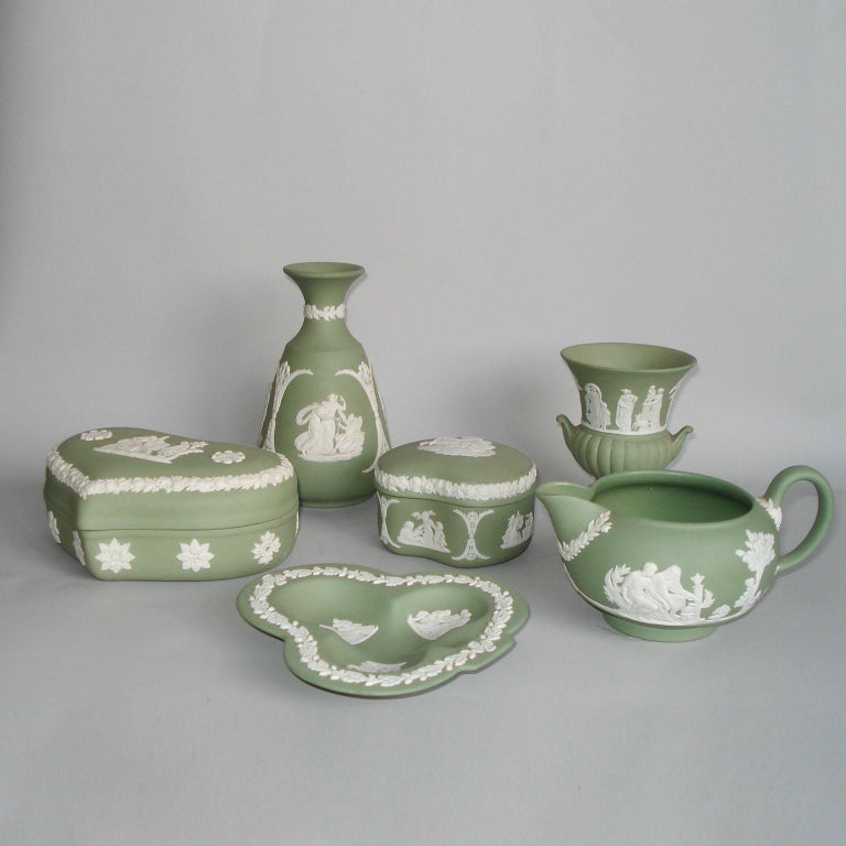 Mid-20th Century Vintage 1960s Wedgwood Jasperware Cream on Celadon Collection