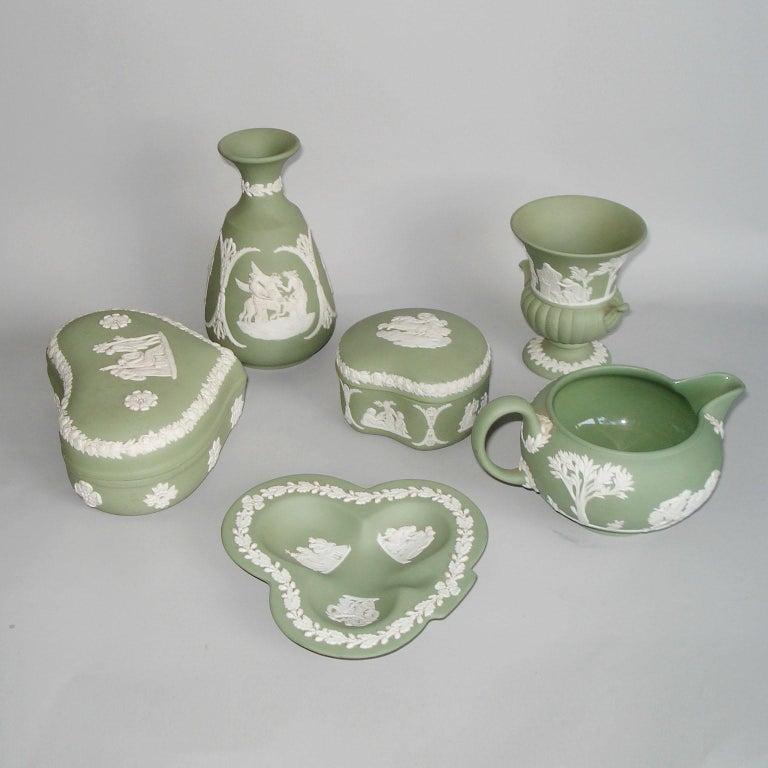 Porcelain Vintage 1960s Wedgwood Jasperware Cream on Celadon Collection
