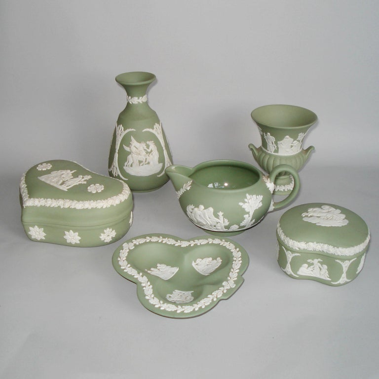 Vintage 1960s Wedgwood Jasperware Cream on Celadon Collection 2