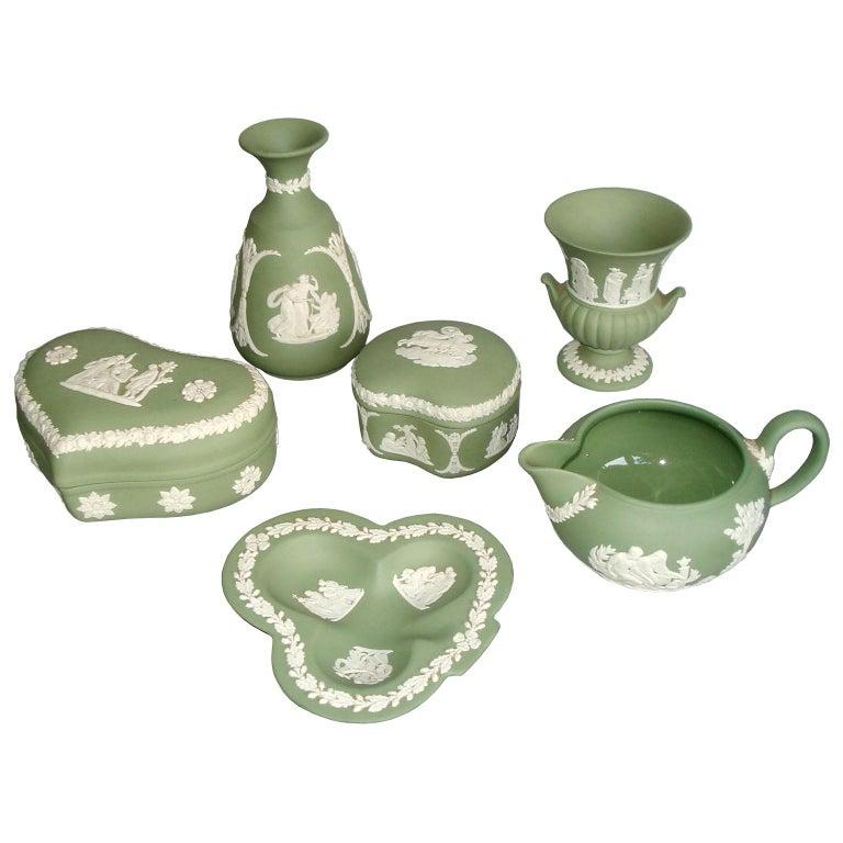 Vintage 1960s Wedgwood Jasperware Cream on Celadon Collection