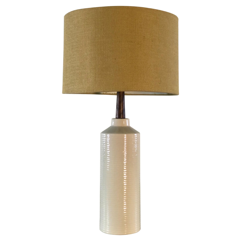 Vintage 1960s White Textured Ceramic Table Lamp
