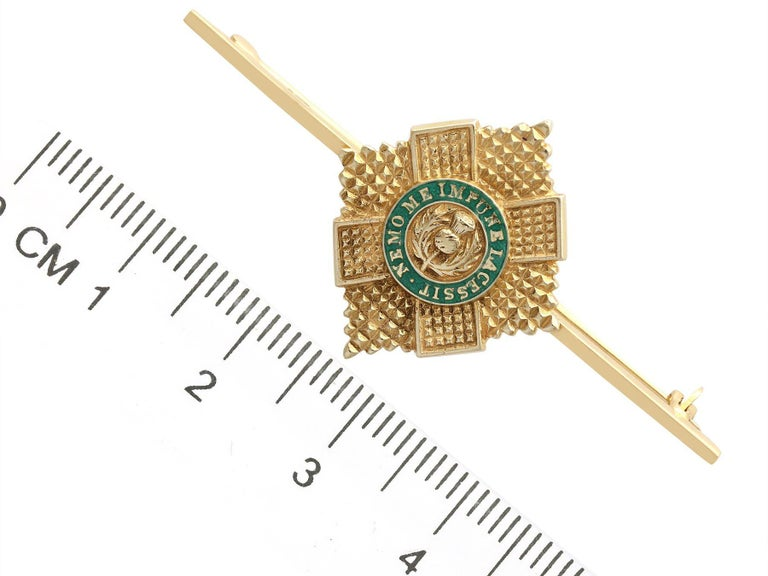 1960s Yellow Gold and Green Enamel Scots Guard Brooch For Sale 2