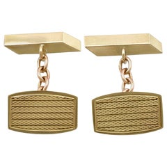 Vintage 1960s Yellow Gold Cufflinks