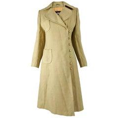 Vintage 1960s Yellow Linen Mod Coat