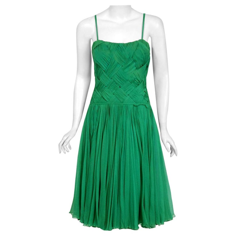 Vintage 1961 Carven Couture Seafoam Green Ribbon Weave Chiffon Full-Skirt Dress For Sale