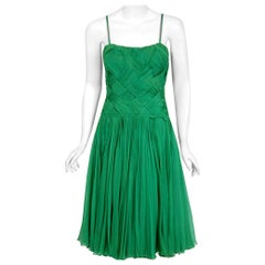 Vintage 1961 Carven Couture Seafoam Green Ribbon Weave Chiffon Full-Skirt Dress