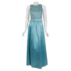 Vintage 1961 Charles Cooper Couture Aqua-Blue Beaded Satin Backless Gown & Coat